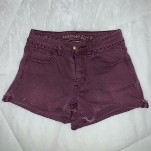 maroon high rise shorts from American Eagle